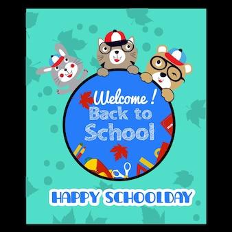 Słodkie powitanie z powrotem do szkoły kreskówki