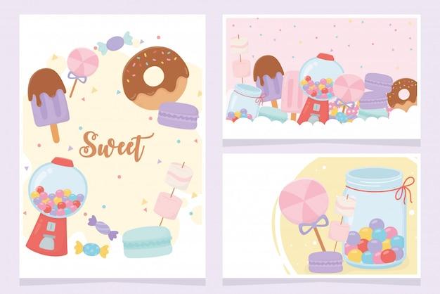 Słodkie produkty pączki lody ciasteczka cukierki karmelowy cukier deser