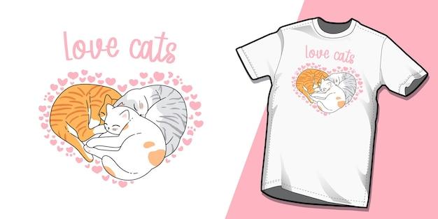 Słodkie projekty szablonów tshirt koty walentynki