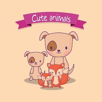 Słodkie projekty zwierząt z psami i lisami