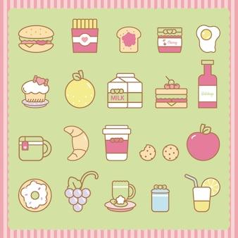 Słodkie przekąski i zestaw żywności