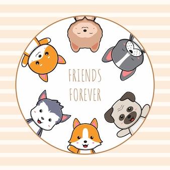 Słodkie psie przyjaciele na zawsze karta doodle ilustracja kreskówka płaski styl kreskówki
