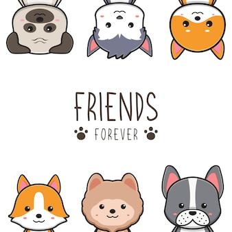 Słodkie psie przyjaciele na zawsze karta doodle ilustracja kreskówka projekt płaski styl kreskówki