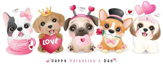 Słodkie psy doodle do kolekcji walentynki