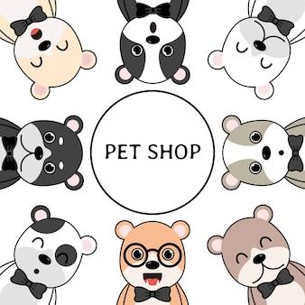 Słodkie psy kreskówek dla koncepcji sklepu zoologicznego