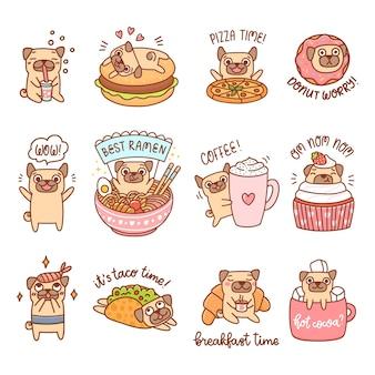 Słodkie psy rasy mops z różnymi potrawami i napojami