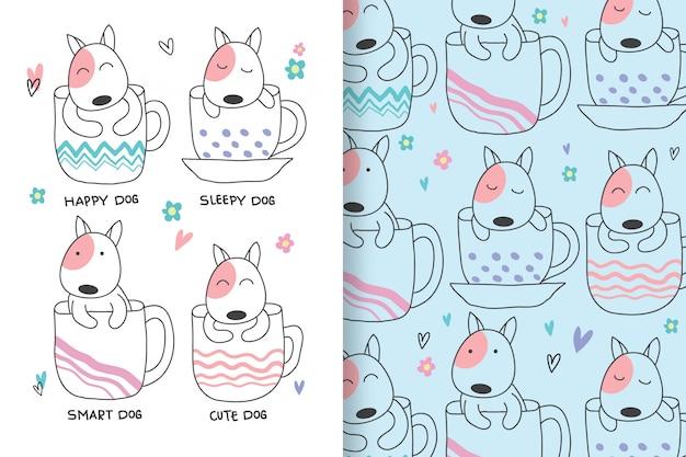 Słodkie psy są rysowane ręcznie ze wzorem