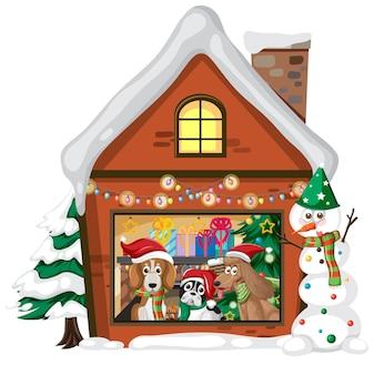 Słodkie psy w bożonarodzeniowym domu na białym tle