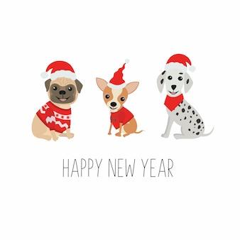 Słodkie psy w zabawnych strojach świątecznych