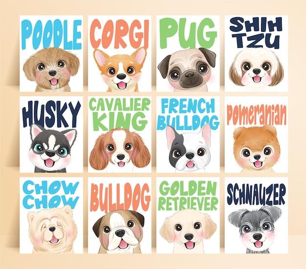 Słodkie psy z imieniem z zestawem ilustracji akwarela