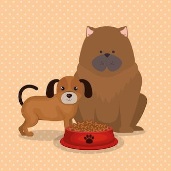 Słodkie Psy Z Jedzeniem Darmowych Wektorów