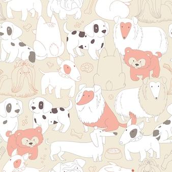 Słodkie psy. zwierzęta. bezszwowe tło wzór w stylu konspektu.