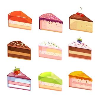 Słodkie pyszne ciasto plastry kawałki wektorowe ikony. deser z kawałkiem, przekąska z czekoladowym kremowym ilustrem