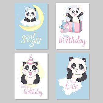 Słodkie ręcznie rysowane karty