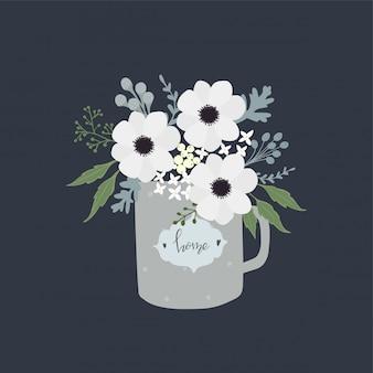 Słodkie ręcznie rysowane kwiaty w filiżance rocznika.