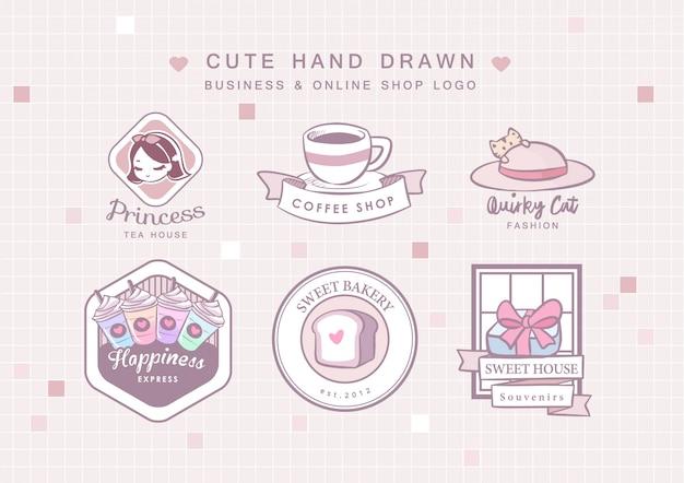 Słodkie ręcznie rysowane logo firmy