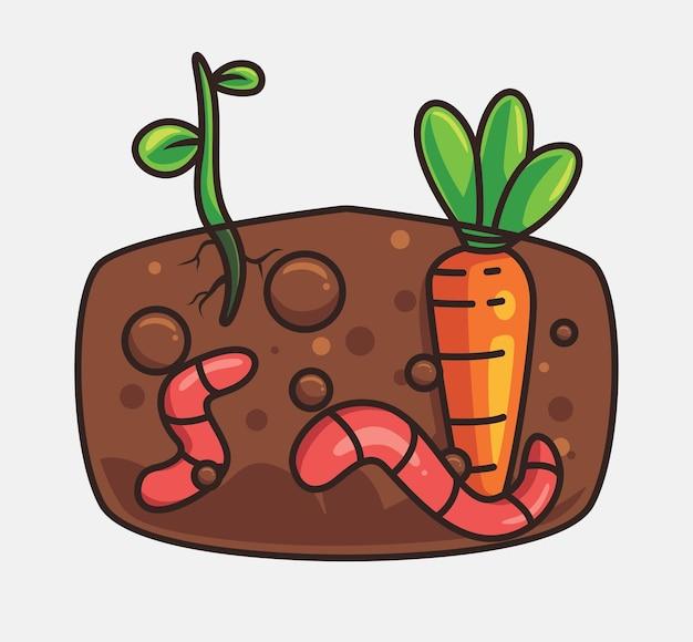 Słodkie robaki hodowlane nawóz kreskówka zwierzęca natura koncepcja na białym tle ilustracja płaski styl