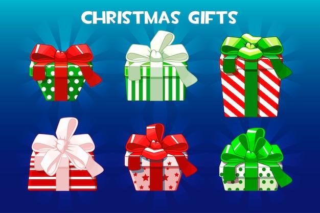 Słodkie różne prezenty świąteczne, kreatywne opakowanie. pakiet.