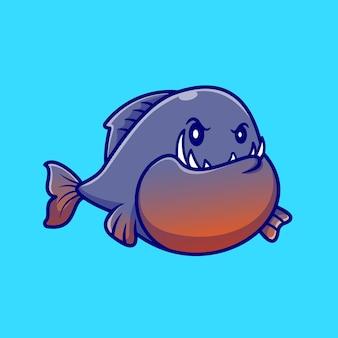 Słodkie ryby pirania kreskówka wektor ikona ilustracja. zwierzęca natura ikona koncepcja białym tle premium wektor. płaski styl kreskówki