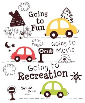 Słodkie samochody doodle kreskówka