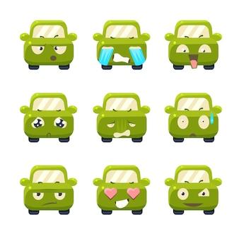 Słodkie samochody z zestawem ilustracji emotikony