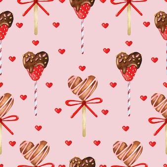 Słodkie serca wzór na różowym tle