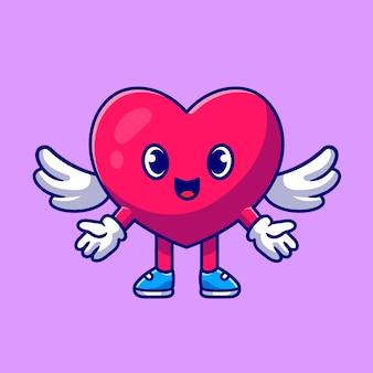 Słodkie serce anioł miłość ikona ilustracja kreskówka.