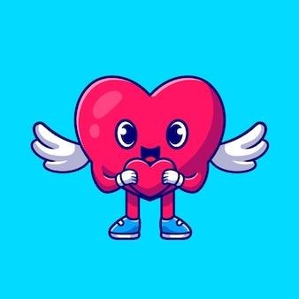 Słodkie serce anioł trzyma miłość ikona ilustracja kreskówka
