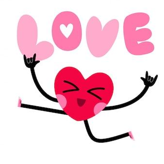 Słodkie serce charakter kartkę z życzeniami z napisem