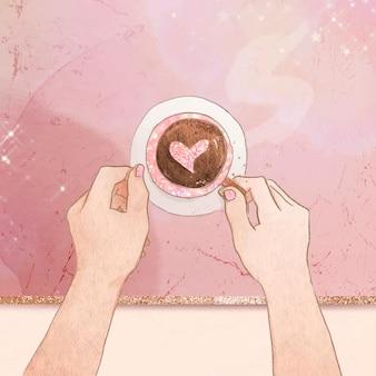 Słodkie serce kawa różowa brokatowa marmurowa tekstura post w mediach społecznościowych