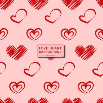 Słodkie serce miłości bezszwowe tło wzór