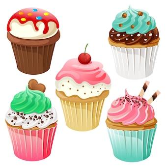 Słodkie słodkie ciastko zestaw ikon