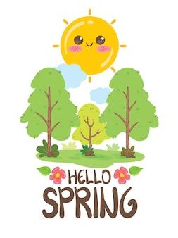 Słodkie słońce i drzewa postać z kreskówki ilustracja. koncepcja wiosny i lata. witaj wiosno.