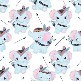 Słodkie słoniątko w jednolity wzór