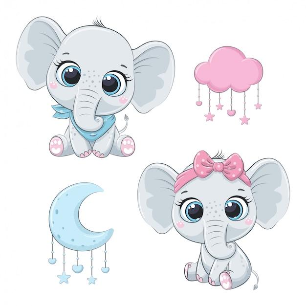 Słodkie słonie dla dzieci, chłopiec i dziewczynka.