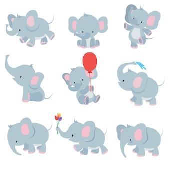 Słodkie słonie kreskówka. zwierzęta afrykańskie safari zestaw zwierząt