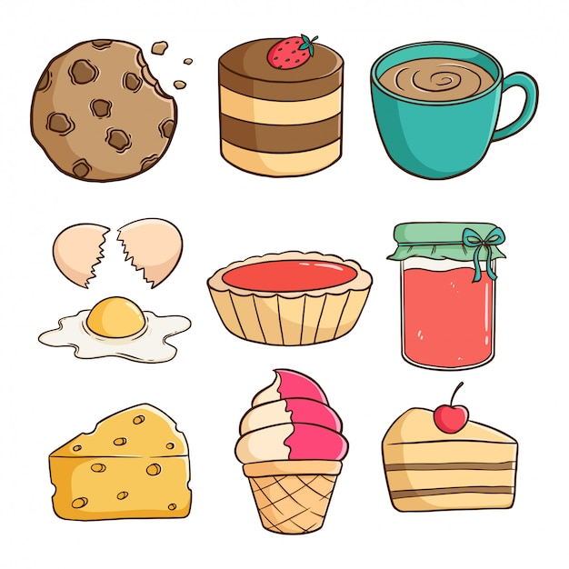 Słodkie smaczne ciasteczka, ciasto, lody i plasterek ciasta z kolorowym doodle lub ręcznie rysowane stylu