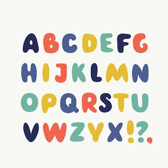 Słodkie śmieszne angielskie abc. zbiór zabawny alfabet bańki.