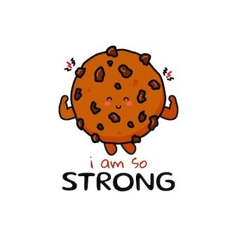 Słodkie śmieszne ciasteczka czekoladowe wyrażenie wektor ręcznie rysowane kreskówka maskotka charakter iluś