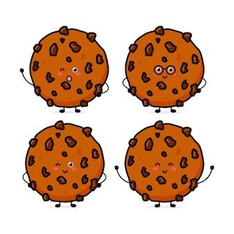 Słodkie śmieszne ciasteczka czekoladowe wyrażenie wektor ręcznie rysowane kreskówka maskotka znak