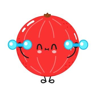 Słodkie śmieszne czerwone żebra z hantlami