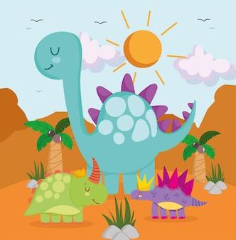 Słodkie śmieszne dinozaury