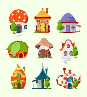 Słodkie śmieszne domy. magiczne bajkowe budynki krasnoludek pokój elf leśne zamki wektor zdjęcia kreskówek. ilustracja domek z grzybami i czajnikiem, magiczny zabawny dom