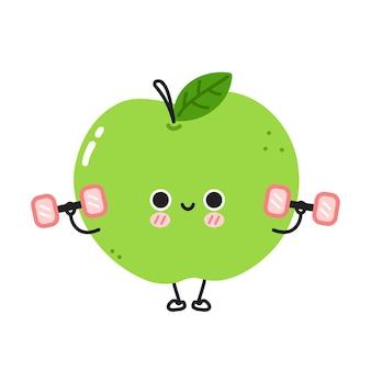 Słodkie śmieszne jabłko sprawia, że siłownia z hantlami