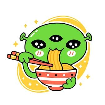 Słodkie śmieszne jeść makaron z miski. wektor ręcznie rysowane kreskówka kawaii charakter ilustracja ikona. na białym tle. azjatyckie jedzenie, japoński, koreański koncepcja kreskówka maskotka z makaronem