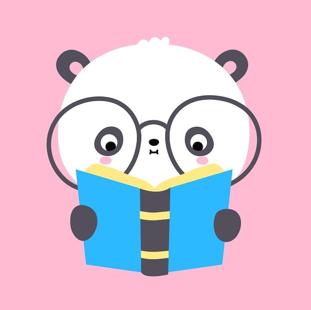 Słodkie śmieszne kawaii mały miś panda czytać książkę. wektor płaskie kreskówka kawaii charakter ilustracja ikona. kreskówka słodki miś panda czytanie, czytanie książki, koncepcja ikony postaci literatury dziecinne dla dzieci