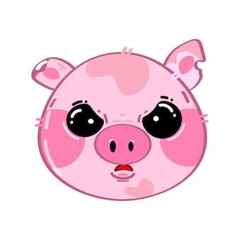 Słodkie śmieszne kawaii smutna mała świnka
