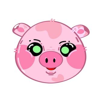Słodkie śmieszne kawaii zaskoczyło małą świnię
