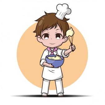 Słodkie śmieszne kreskówka kucharz.