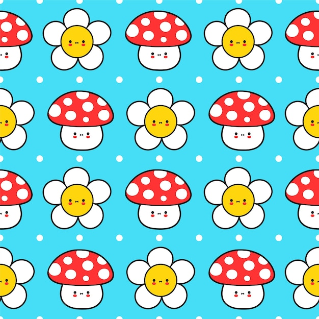 Słodkie śmieszne małe dziecko amanita grzyb i kwiat wzór. wektor ręcznie rysowane kreskówka kawaii charakter ilustracja ikona. kwiat rumianku, koncepcja kreskówka wzór grzyba amanita
